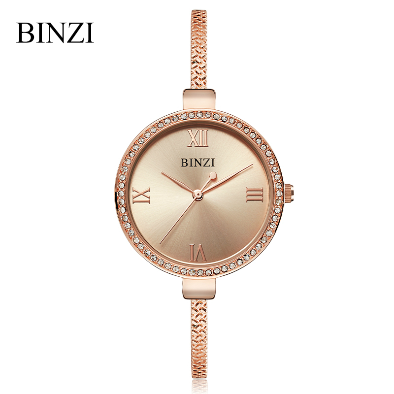BINZI Watch Women Luxury Brand Crystal Gold Women Watches Ladies Bracelet Watch Female Clock Quartz Wristwatch Relogio Feminino swiss fashion brand agelocer dress gold quartz watch women clock female lady leather strap wristwatch relogio feminino luxury