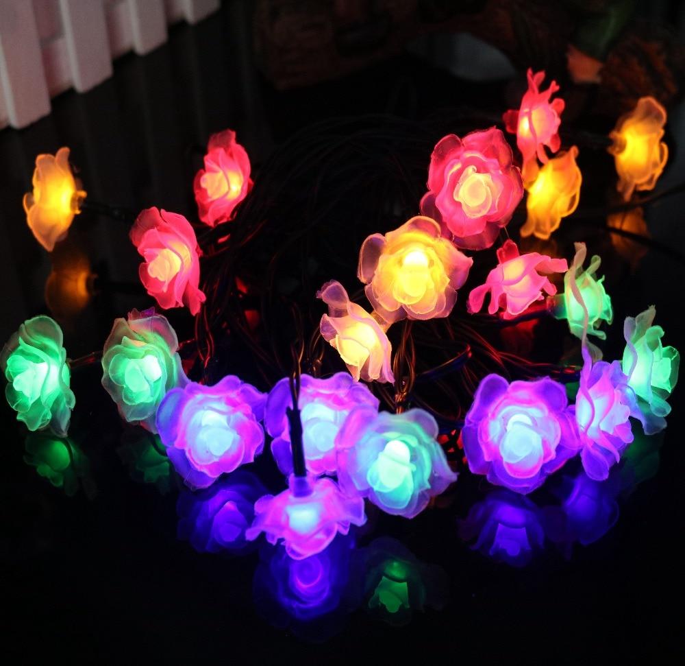 Flower string lights - 4 8m 20 Led Solar Powered Rose Flower String Lights Lamp For Christmas Party Wedding Garden