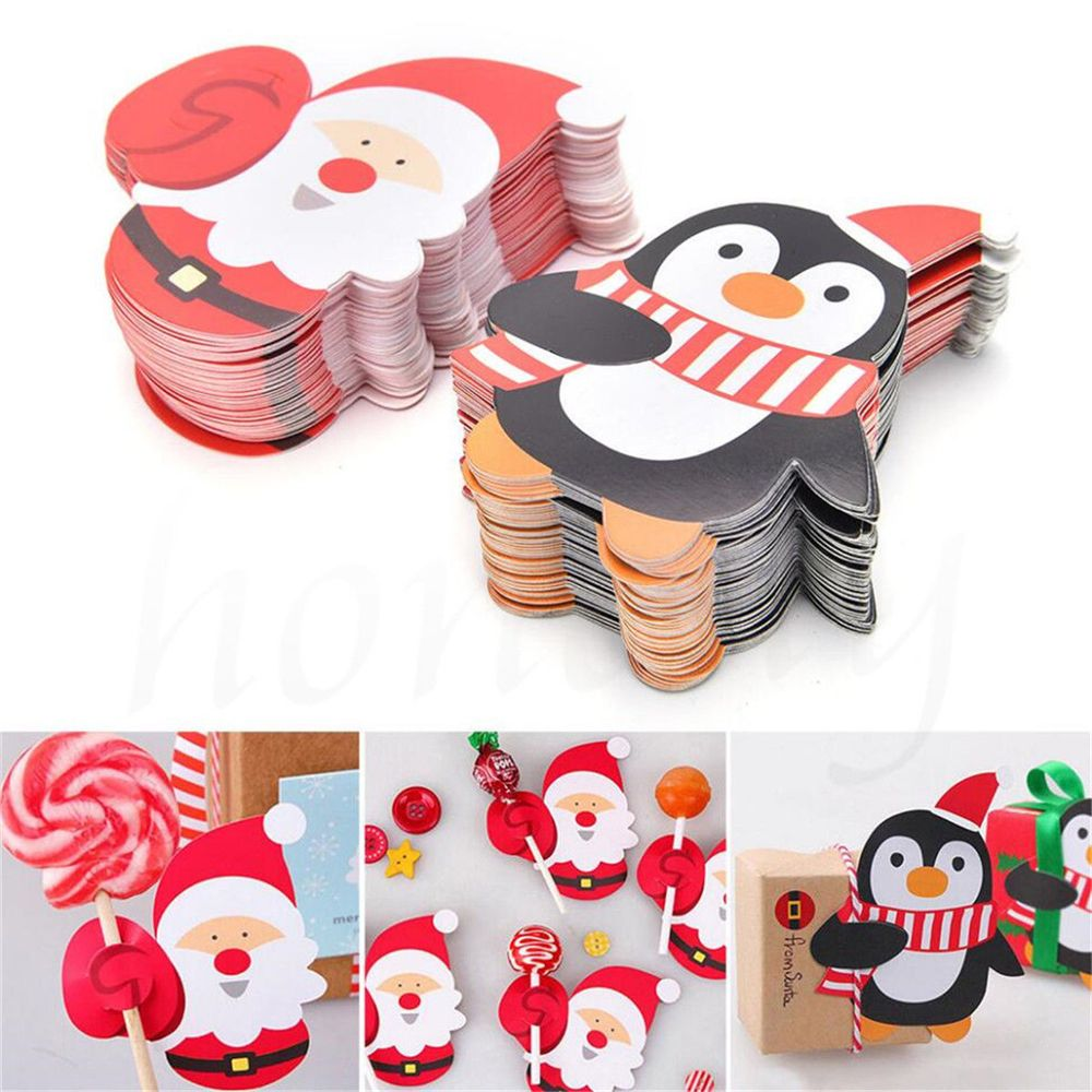 50pcs Christmas Paper Chocolate Lollipop Sticks Cake Pops Xmas Decor Party School Supplies Stationery Christmas Stickers Gifts