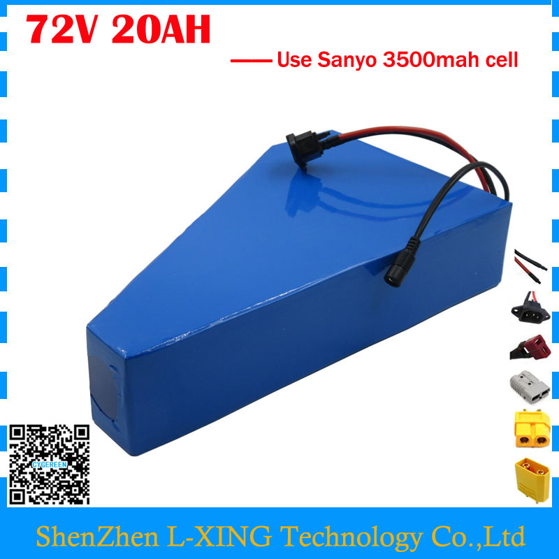 Free customs tax 72V 20AH ebike battery 72V 20AH Lithium triangle battery 72V bicycle battery use Sanyo 3500mah cell 40A BMS free customs fee 1000w 36v 17 5ah battery pack 36 v lithium ion battery 18ah use samsung 3500mah cell 30a bms with 2a charger