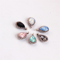 Trendy New 50PCS 10 16MM Vintage Silver Tone Alloy Jelly Crystal Rhinestone Waterdrop Pendant Charms DIY