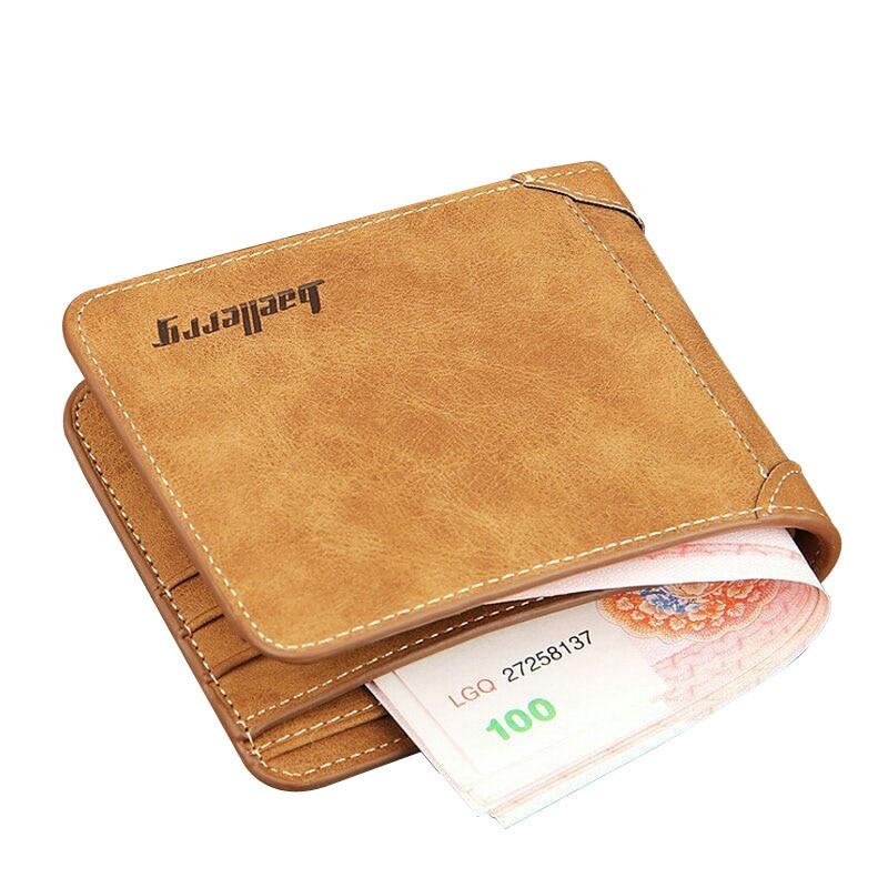 baellerry brand Vintage Nubuck Leather Men's Wallets Slim Purse For Man ID Credit Card Holder