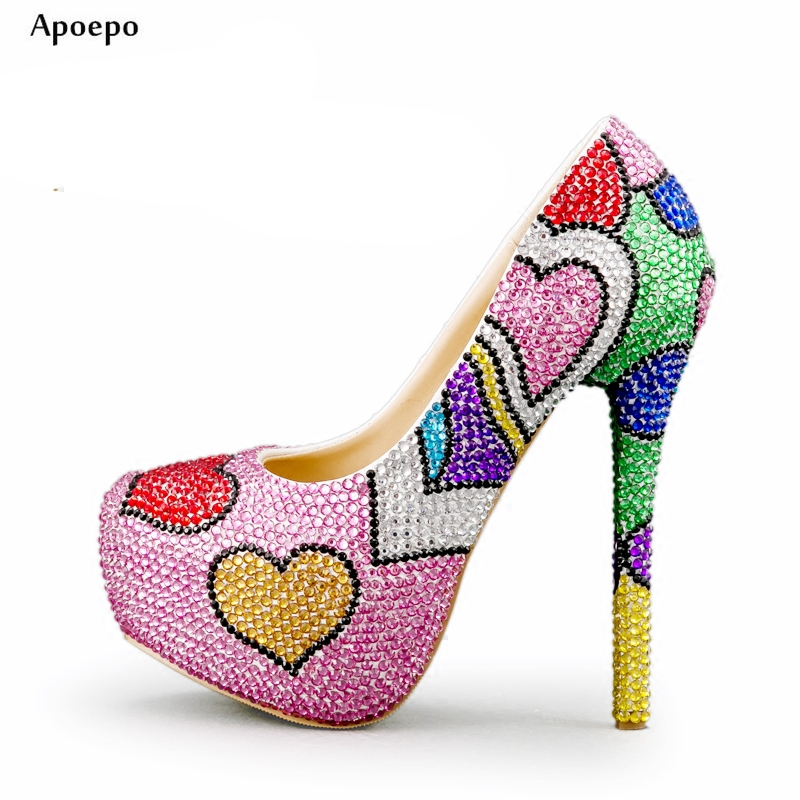 Apoepo Fashion Mixed Colors High Heel Shoes Handmade Bling Bling Crystal Embellished Wedding Heels Woman Platform pumps apoepo handmade wedding bride shoes bling bling crystal pregnant shoes 3 5 cm increased internal low heels shoes mary janes shoe