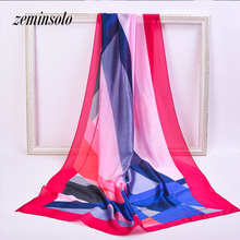 Big Size Silk Scarf For Women Wrap Fashion Brand High Quality Imitated Satin Scarves Polyester Shawl Hijab 90*180cm Stole