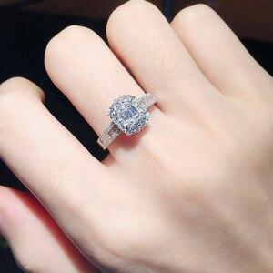 Image 3 - Anillo de oro puro de 18 quilates con diamante Natural, anillo de oro sólido AU 750, joyería fina clásica de lujo para fiesta, novedad de 2020