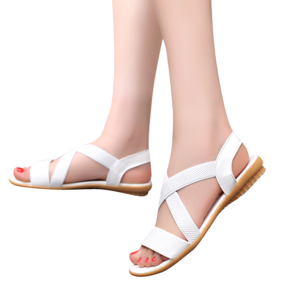 SAGACE 2018 Womens Summer Flip Flops Casual Slippers Flat Sandals BeachLow Heel Anti Skidding Beach Cross Strap Shoes Sandals summer flat sandals female gladiator sandals basic slippers stripe flat heel anti skidding beach shoes sandalias