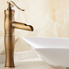 Antique Brass Bathroom Sink Basin Faucet Mixer Tap Waterfall Spout Single Hole Vessel Sink Faucet KD1258