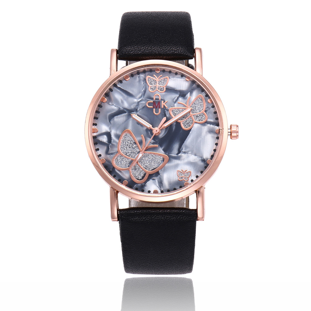 New Vintage Leather Women Watches Luxury Top Brand butterfly Pattern Casual Quartz Watch Women Clock Relogio Feminino relogio