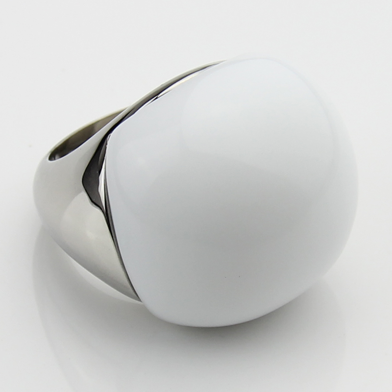 LYCOON Fashion woman opal jewelry Ring High quality 316L Stainless steel with big white ball shape stone rings for lady or girls