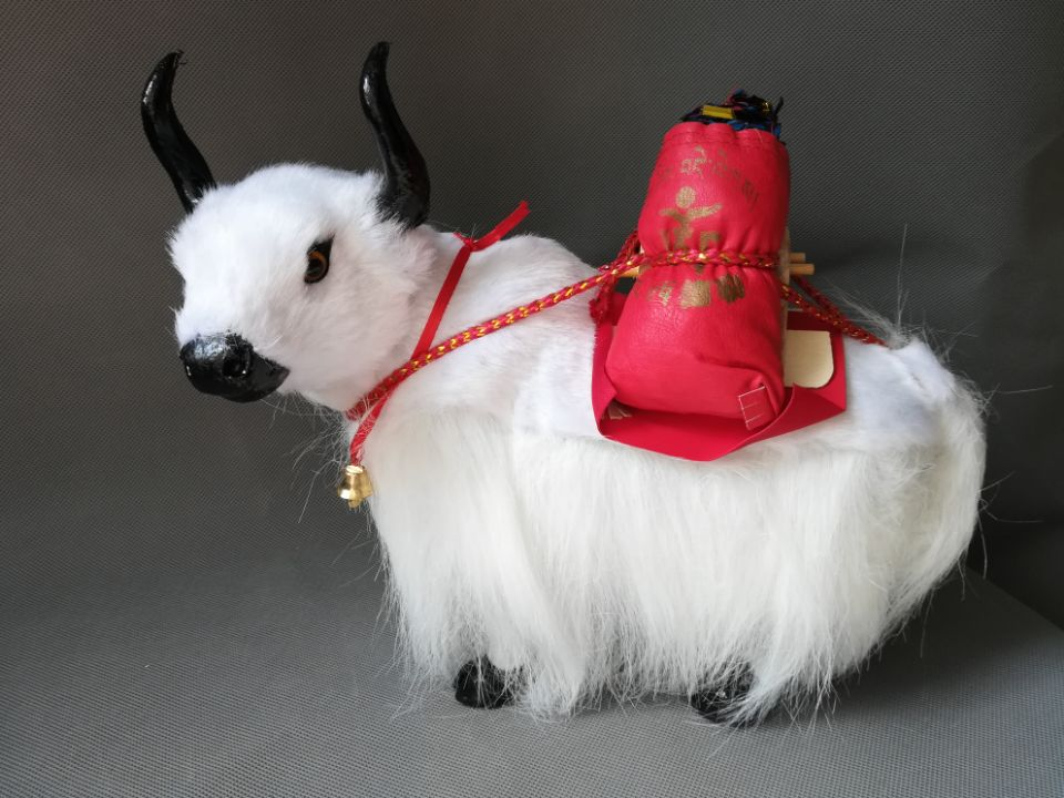 real life toy yak model about 28x25cm white yak home decoration birthday gift a2139