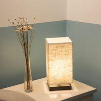 Stof Schaduw Nachtkastje Lamp Met Massief Houten Basis Minimalistische Nachtlampje-in Tafellampen van Licht & verlichting op