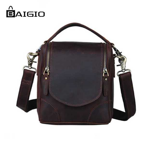 8679ba301e826 Baigio New Men Crazy Horse Leather Tote Bags Italian Leather Camrea Bags  Vintage Style Small Brand Designer Crossbody Handbags