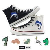 Kawaii Cute Dinosaur Fish Bird Print Shoes Graffiti High Heel Canvas Uppers Teen Customized Trendy A194112