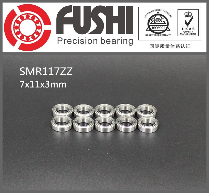 SMR117ZZ ABEC-1 (10PCS) 7X11X3 mm Stainless Steel Miniature SMR117 ZZ Ball Bearings SMR117-ZZ 1pcs 71901 71901cd p4 7901 12x24x6 mochu thin walled miniature angular contact bearings speed spindle bearings cnc abec 7