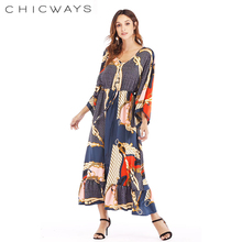 1c38cbad15f8 CHICWAYS 2019 V Neck Long Sleeve Floral Print Golden Long Maxi Dress Sexy  Wrap Dresses Pattern
