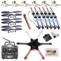 F05114-J Drone Helicóptero F550 FlameWheel Kit Con KK 2.3 Vuelo controlador ESC Motor Hélices de Fibra de Carbono + RadioLink 6CH TX RX