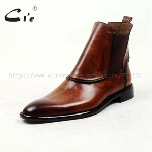 Image 2 - cie round plain toe100%genuine calf leather boot patina brown handmade outsole leather men boot casual mens ankle boot  A94