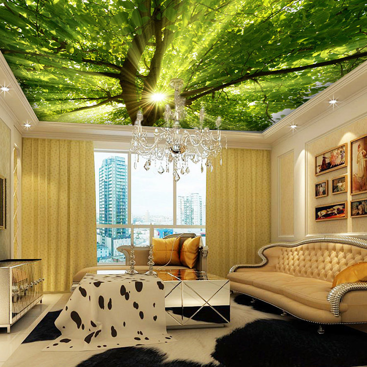 Wholesale Trees And Sun Murals 3d Wall Photo Murals For Living Room  Wallpaper Wall Ceiling Murals Backdrop Mural Wallcoverings In Wallpapers  From Home ...