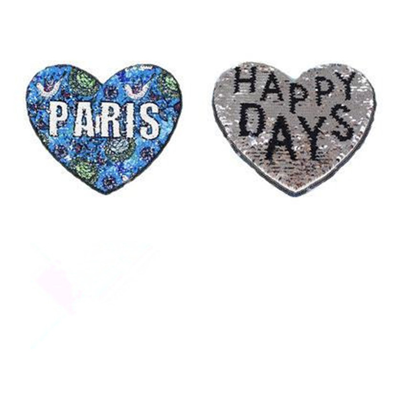 Моды вверх и вниз Флип Двусторонняя патч блестки 20 см сердце Парижа-счастливые дни патчи для одежды иметь дело с это одежда Бесплатная доста...