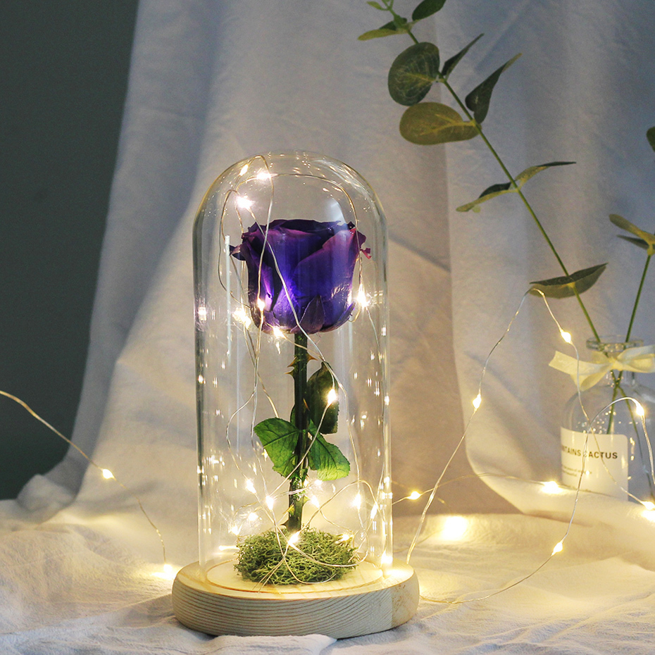 Valentines Day Gift Beauty And The Beast LED String Light Red Rose In Flask A Glass Dome On A Wooden Base Christmas Gift