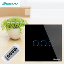 EU Standard SESOO Remote Control Switch 3 Gang 1 Way,RF433 Smart Wall Switch,Wireless Remote Control Touch Light Switch 110-240V