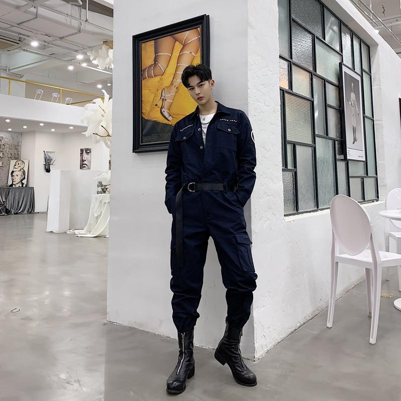 Pants Official Website Male Long Sleeve Overalls Jumpsuit Harem Trousers Men Vintage Fashion Streetwear Hip Hop Casual Jumpsuit Cargo Pant Warm And Windproof Cargo Pants