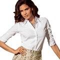 5 Цвета Sexy Women Sheer Белый Розовый Черный Рубашки С Длинным Рукавом Повседневная Блузка Топы 2016 Новая Мода Рубашки
