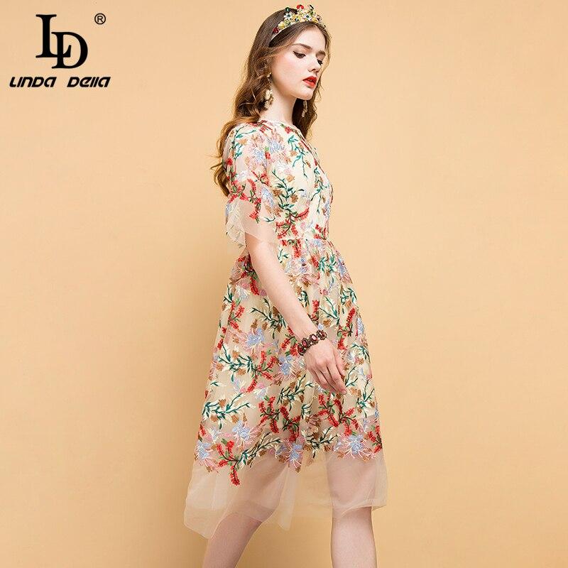 LD LINDA DELLA 2019 Fashion Runway Summer Dress Women's Floral Embroidery Mesh Overlay Elegant Party Vintage Midi Ladies Dresses