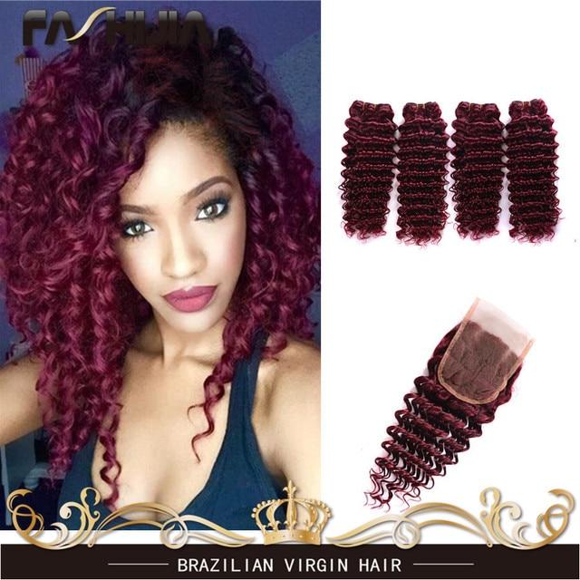 7А Бордовый Бразильские Волосы Глубокая Волна Бразильская Virgin Плетение Волос 4 Пучки Человеческие Волосы 99J Бразильские Волосы 4x4 Кружева закрытие
