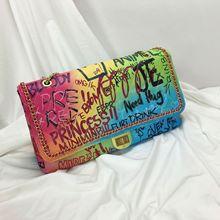 Luxury handbag 2019 new fashion colorful graffiti grid.Large capacity single shoulder chain bag for women