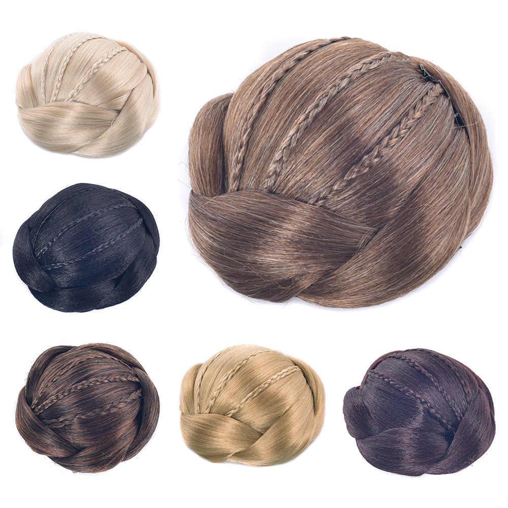 Gres sintético moño para el cabello fibra resistente al calor mujeres Updos negro/marrón oscuro/Rubio Clip-in Chignons para señora postizo