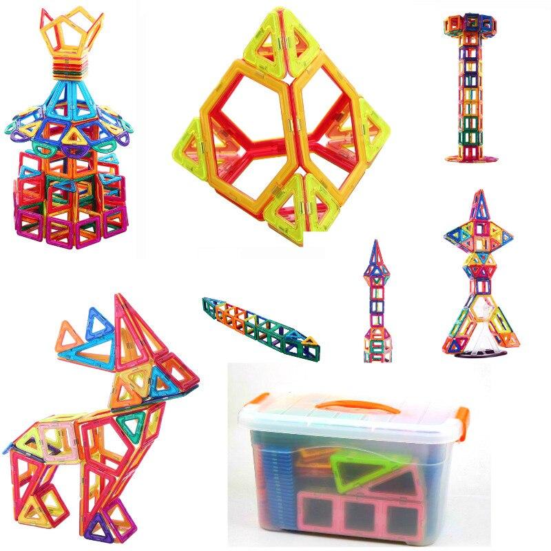64 145pcs Magnetic Blocks shape Radom Kids Construction Enlighten Assembly Building Toys Educational Plastic Technic Brick