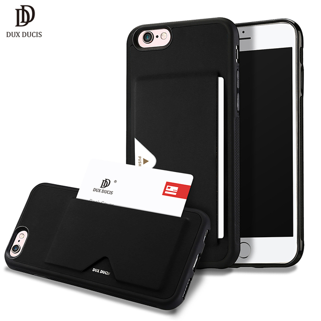 newest fbe87 48dc6 US $7.49 30% OFF|DUX DUCIS Leather Card Case for iPhone 6 Wallet Credit  Card Slot ID Holder Back Cover for iPhone 6 6s Plus Shockproof Phone  Case-in ...