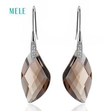 MELE Натуральный дымчатый кварц серебряные серьги, специальная форма 14 мм * 26 мм, все чисто качество, Женская мода ювелирные изделия