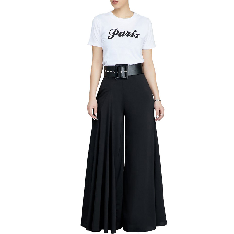 Autumn Women Sexy High Waist Solid Color   Wide     Leg     Pant   Elegant Full Length Palazzo   Pant   Solid Leisure Female Pocket Long Trouser