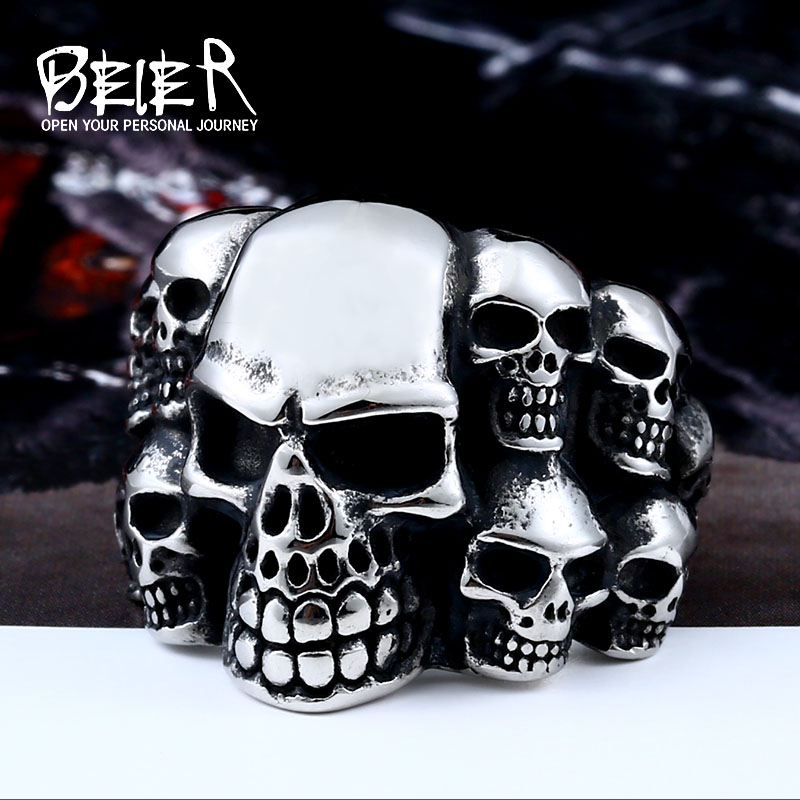 Beier new store 316L Stainless Steel high quality Biker ring Punk Lots of Skull Ring for men Fashion Jewelry LLBR8-079R