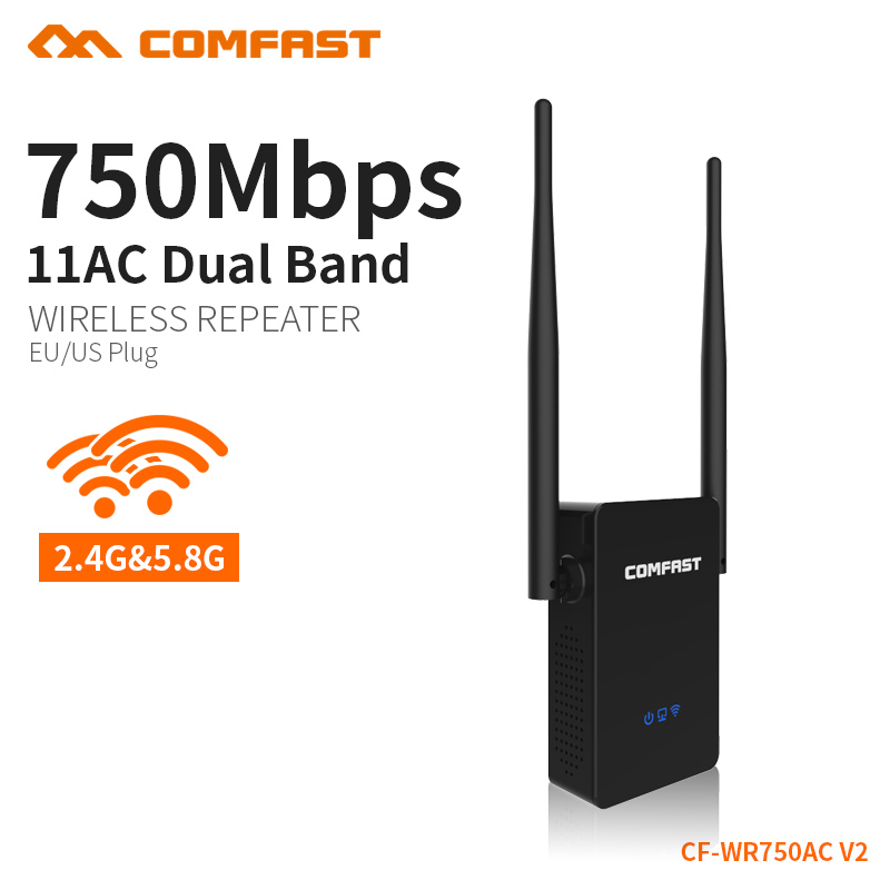 Wireless-n 5ghz wifi router 750Mbps wifi amplifier dual band repeater Signal Booster wireless router repeater COMFAST CF-WR750AC comfast cf wr750v2 dual band 750mbps wifi repeater roteador 802 11ac wireless router 2 4 5 8ghz long rang wi fi signal amplifier