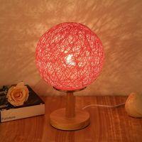 led table lamp indoor home bedroom bedside lamp bedroom creative wedding led twine bamboo wooden night light