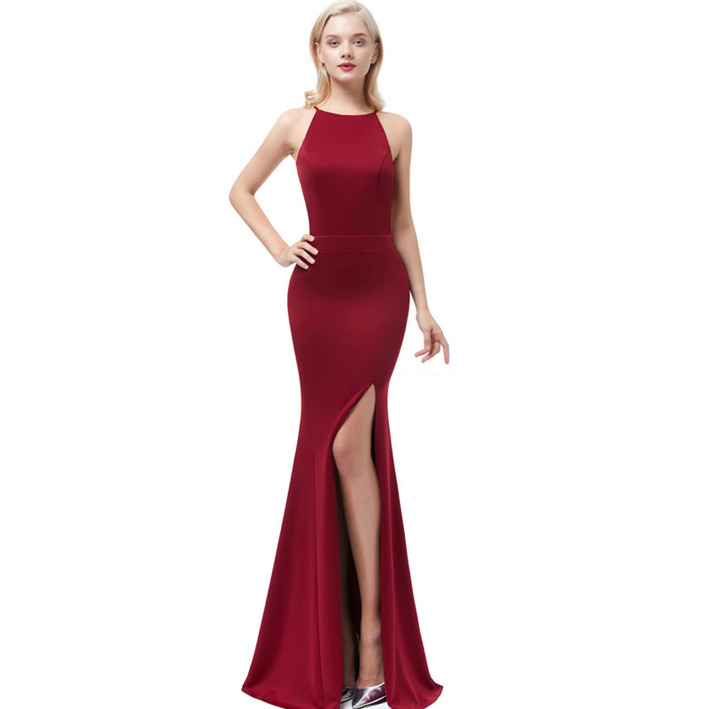 Beauty Emily Wine Red Sexy Satin Mermaid Evening Dresses 2019 Long for Women Formal Evening Gowns Party Prom  Party Dresses