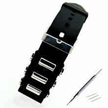 22mm 24mm 26mm Rubber With Stainless Steel WatchBand Pin Buckle Waterproof Watchband Wrist Watch Band Strap Bracelet