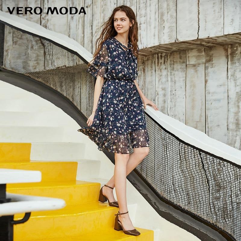 Vero moda Tie-up Manga Floral Vestido de Verão Praia 2019 | 31816Z509