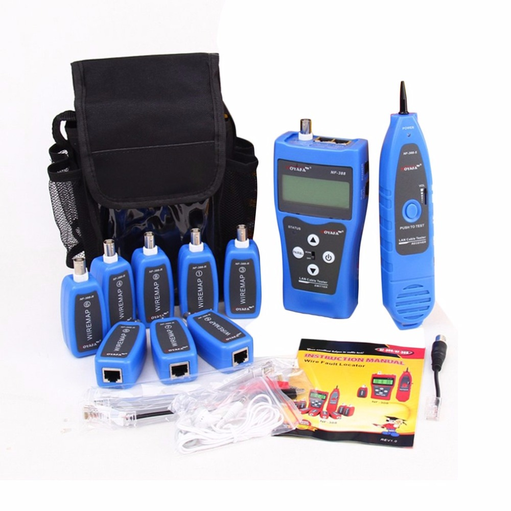 Noyafa NF-388 English Version Multi-functional Network Cable Tester Remote Cable Tracker RJ45 RJ11 LAN Tester LCD Display Bule