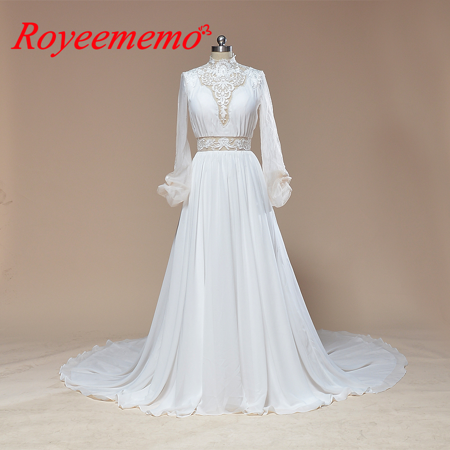 Wedding Dressing Gowns Personalised: 2019 Long Sleeve Wedding Dress Classic Design Chiffon