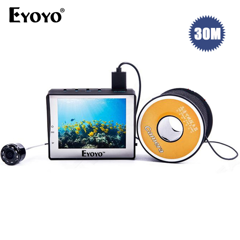EYOYO WF02 Portable Fish Finder 1000TVL Underwater Video Fishing Camera 3.5 LCD Monitor 30M Cable Ice Ocean Fishing eyoyo 930m touch screen infrared hd 1000tvl underwater fishing camera fish finder video fishfinder ocean river sea boat fishing