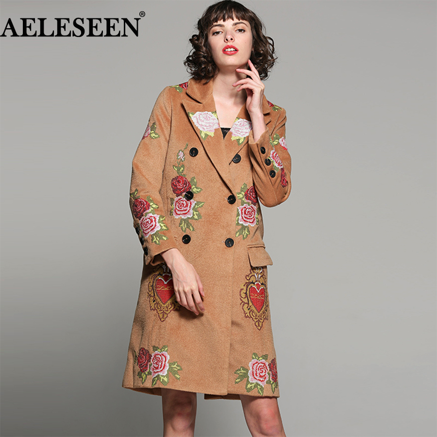 AELESEEN Luxury Embroidery Coat Outwear 2018 Fall Autumn Wool coats Button Runway Designer Women Fashion Coat