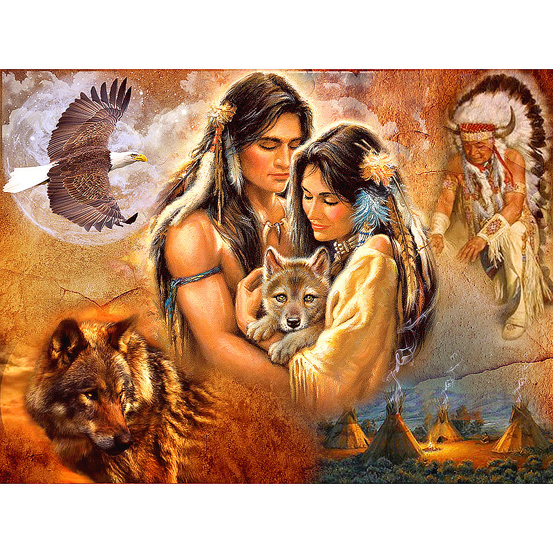 Diy Diamond Painting Cross Stitch Square Diamond Embroidery Indian couple 5D Diamond Mosaic Crafts Home Decor BD022