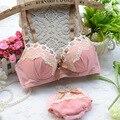 Кружево с бантом бабочка-узлов японский женщин бюстгальтеры и нижнее белье устанавливает сексуальное женское белье кубок B