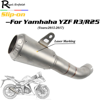For Yamaha R3 R25 YZF-R3 Motorcycle exhaust muffler slip-on For YAMAHA YZF R30 R25 YZF-R3 MT30 2015 2016 2017 with laser marking