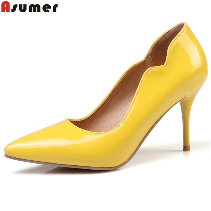 Haute Asumer rose Mariage blanc Mince Femmes jaune Bout Talons Eté Sexy Pompes noir Rouge Printemps Chaussures Solide Couleur Color Noir Nude Pointu rouge De rawrYR