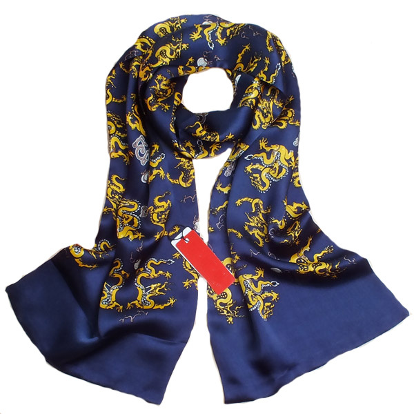 Животных Шарф Мужская Новый Китайский Дракон 100% Шелковые Шарфы для мужчины Сатин Британский Стиль Синий Дизайнер Бренда Double Faced платки